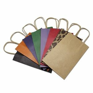 Many Color For Kraft Paper Gift Bags With Handle Shopping Merchandise Pack Pouch