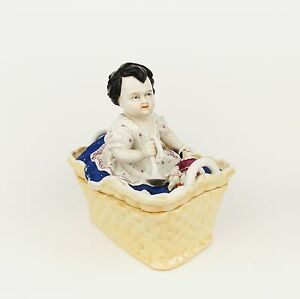 Antique 1880 Fairings Trinket Jewelry Box Porcelain Baby With Toy Clown German