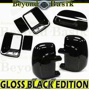 99 07 Ford F250 Std ext Gloss Black Door Handle Covers Wpsk mirror tailgate Nokh