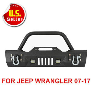Front Winch Bumper Bull Bar With Led Fog And Work Lights 07 17 Jeep Jk Wrangler