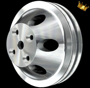 Billet Small Block Chevy Long Water Pump Pulley 2 Groove Fits 283 327 350 400