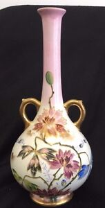 Antique Royal Bonn Raised Gilt Vase Flowers Gilt Handles 10