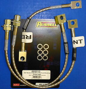 Russell 693010 Stainless Steel Braided Brake Line Hose Kit Mustang 1987 1993