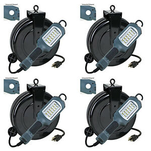 Case Of 4 Led Cord Retractable Reel Shop Repair Work Light 1000 Lumens 5030ahs