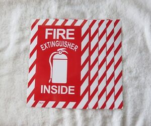 5 Pictorial fire Extinguisher Inside Self adhesive Vinyl Sign 6 X 9 New