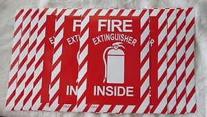 10 Pictorial fire Extinguisher Inside Self adhesive Vinyl Sign 6 X 9 New