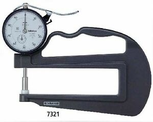 Mitutoyo7321 Dial Thickness Gage Flat Anvil Deep Throat Type 0 10mm Range