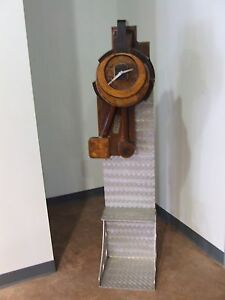 Vtg Working Wooden Clock Mounted Industrial Salvage Repurposed Steampunk