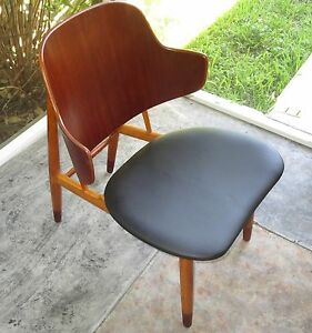 Original Kofod Larsen Lounge Chair Teak Beech Leather Mid Century Danish