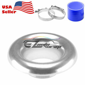 3 5 Silver Short Ram Air Intake Turbo Horn Aluminum Velocity Stack Silicone Hose