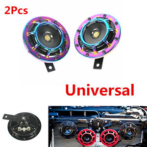2x New Colorful Super Loud Compact Electric Blast Tone Hella Horn For Car Trunk