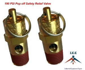 Air Compressor Safety Pop Off Valve 190 Psi Asme Coded X 2 Pieces
