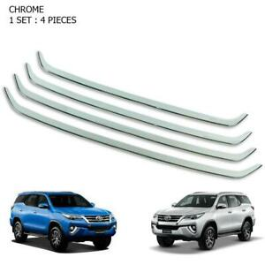 Chrome Front Grille Bumper Line Trim 4 Pc Fits Toyota Fortuner Suv 2016 2017