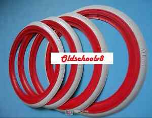 Atlas Brand 14 Red White Wall Portawall Topper Tire Insert Trim Set 4 Pcs