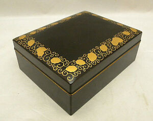 Japanese Wood Lacquer Box W Gold Decorations Coins