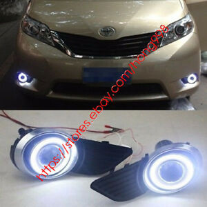 2x Led Daytime Fog Lights Projector For 2014 16 Toyota Sienna Angel Eye Kit