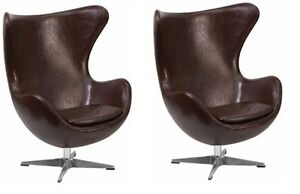 X2 Brown Leather Egg Executive Chair With Tilt Lock