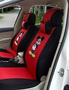 12 Pcs Mickey Mouse Car Seat Covers Universal Fit Cute Auto Interior Embroidery