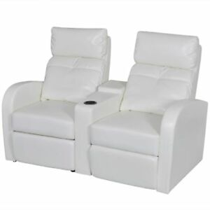 White Artificial Leather 2 seat Home Theater Recliner Sofa Lounge W Cup Holder