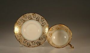 Royal Stafford Gold Floral And Turquoise Tea Cup And Saucer England C 1952