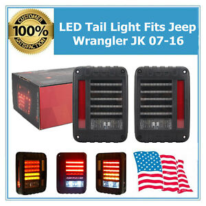 Fits 07 16 Jeep Wrangler Jk Led Rear Tail Light Smoke Brake Turn Signal Reverse