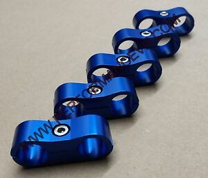 5pc Blue 10an An 10 Billet Oil Fuel Water Line Hose Separator Clamp Mount