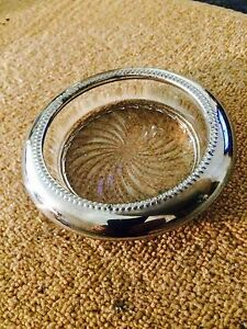 Sterling Silver Plated Crystal L Vintage Ashtray Made In Late 1930 Amazing Shape