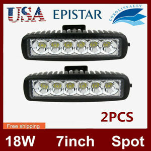 2x 6inch 15w Led Work Light Spot Flood Offroad Driving 4wd Lamp Atv Ute 12v24v