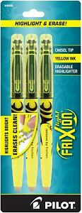 Pilot Light Frixion Erasable Highlighters Yellow Ink 3 Ea pack Of 7