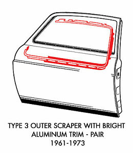New Vw Type 3 Outer Scraper With Bright Aluminum Trim Kit Pair 1961 1973