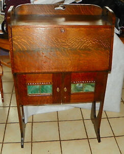 Solid Quartersawn Oak Arts Crafts Dropfront Desk Cabinet Dr64