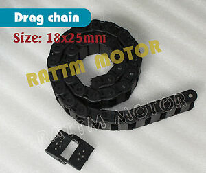 Cnc 18 X 25mm Cable Drag Chain Wire Carrier With End Connector Plastic Towline
