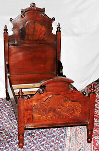 Child Doll Bed 30 T High Back Renaissance Victorian Walnut Rosewood C1870