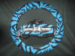 Blue Black Zebra Striped Fleece Steering Wheel Cover Set
