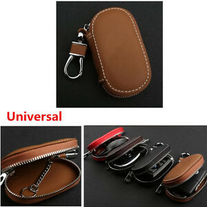 1x Universal Car Pu Leather Smart Remote Key Holder Bags Cases Fob Brown New