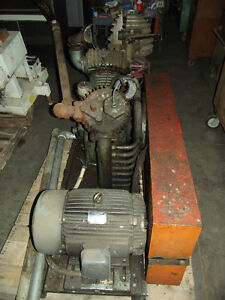 Gardner Denver Air Compressor Two Stage 20hp Leland Faraday Motor No Tank