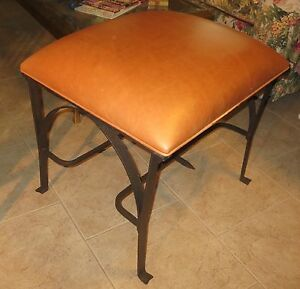 Mid Century Modern Hollywood Regency Bronze Wrought Iron Leather Bench Stool