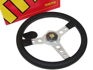 Momo Steering Wheel Prototipo 350mm Leather White Stitch Silver Spoke