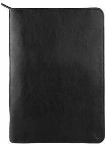 New Hidesign Leather Zip File Folder Padfolio With Ipad tablet Pocket Black