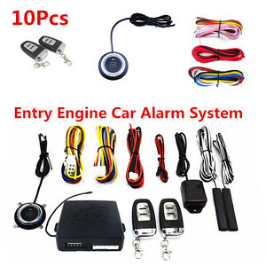10pcs Car Suv Alarm System Keyless Entry Engine Start Push Button Remote Starter