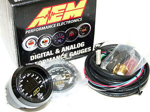 Aem 30 4402 52mm Electronic 100 300f Oil Water Tranny Temperature Gauge Meter