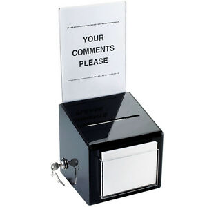 Cal mil 390 Suggestion Box With Lock Black Countertop Model New In Box