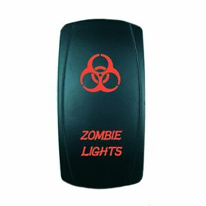 Rocker Switch Zombie On Off Atv Utv Off Road Pickup Red Lighted
