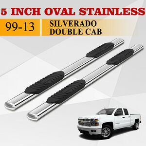 Fit 99 18 Silverado Double Cab 5 Side Step Running Boards Nerf Bar S S Oval