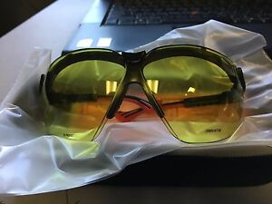 Uvex Honeywell Wraparound Uncoated Laser Safety Glasses Light Yellow green Lens