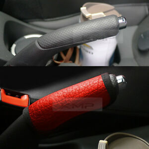 Sports Parking Hand Brake Boot Leather Cover Red Garnish For Hyundai 2012 18 I40