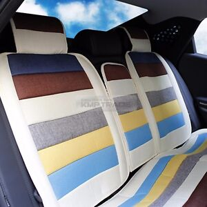 Universal Rainbow Summer Cool Hemp Fabric Cushion Seat Cover For All Vechicle