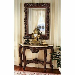 French Royal Baroque Hand Carved 33 Wooden Marble Topped Console Table