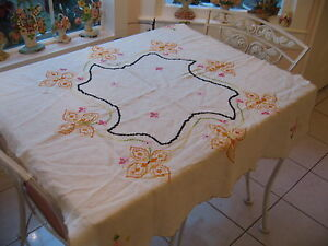 Beautiful Vintage Off White Cross Stitch Embroidered Floral Linen Tablecloth