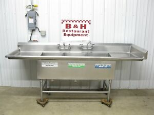 96 Stainless Steel Heavy Duty 3 Bowl Compartment Sink W Right Side Splash 8